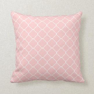Pastel Pink White Quatrefoil Throw Pillow