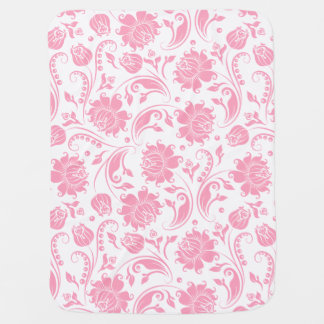 Pastel Pinke And White Floral Damasks Baby Blankets