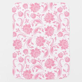 Pastel Pinke And White Floral Damasks Baby Blanket