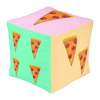 Pastel Pizza Party Dice Teen Dorm Room Decor Pouf