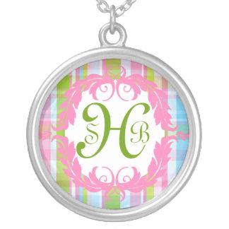 Pastel Plaid Monogram Necklace
