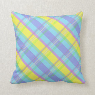 Pastel Plaid Spring Colors Easter Throw Pillow