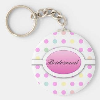 Pastel Polka dot be my bridesmaid keychain