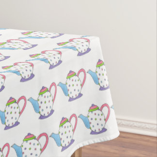 Pastel Polka Dot Tea Pot Teapot Party Shower Tablecloth