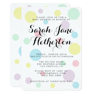 Pastel Polka Dots Baby Shower Invitations