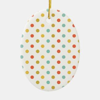 Pastel polka-dots ceramic ornament