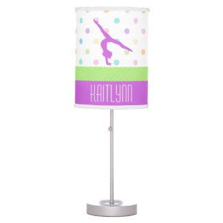 Pastel Polka-Dots Gymnastics in Lavender Table Lamp