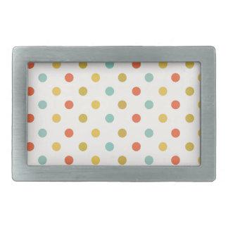 Pastel polka-dots rectangular belt buckle