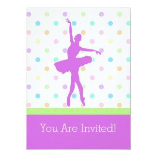 "Pastel Polka-Dotted Tutu Dancer With Purple Detail 5.5"" X 7.5"" Invitation Card"