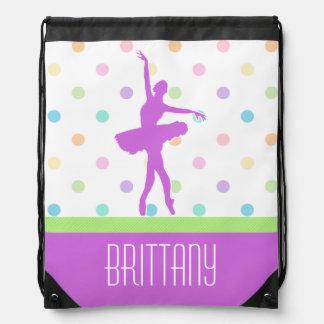 Pastel Polka-Dotted Tutu Dancer With Purple Detail Drawstring Bag