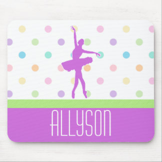 Pastel Polka-Dotted Tutu Dancer With Purple Detail Mouse Pad