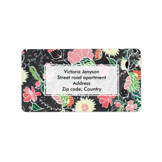 Pastel preppy hand drawn garden flowers chalkboard label