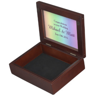 Pastel Pride Grooms' Memento Box Gay Wedding Gift