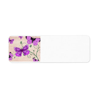 Pastel Purple Butterflies Return Address Label