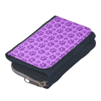 Pastel purple dog paw print wallets