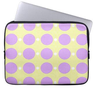 Pastel Purple Dots on Yellow Laptop Sleeve