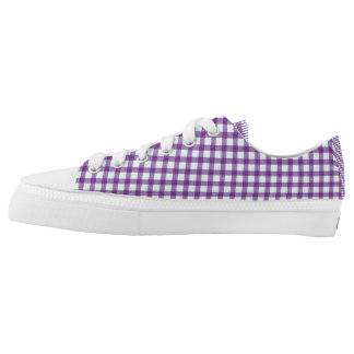 Pastel Purple Gingham Check Pattern Low-Top Sneakers