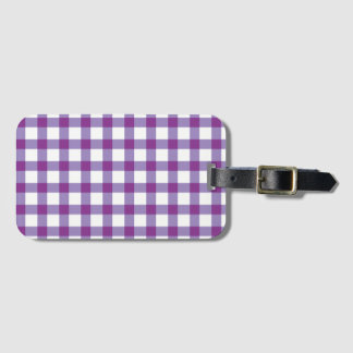 Pastel Purple Gingham Check Pattern Luggage Tag