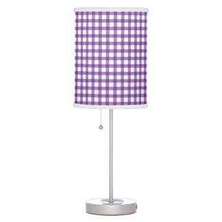 Pastel Purple Gingham Check Pattern Table Lamp