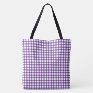 Pastel Purple Gingham Check Pattern Tote Bag