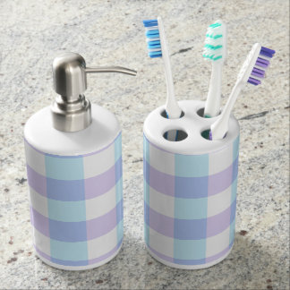 Pastel Purple Gingham Soap Dispenser And Toothbrush Holder
