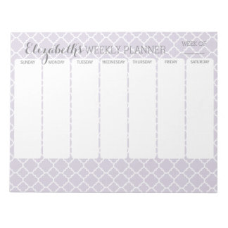 Pastel Purple Gray Quatrefoil with Weekly Planner Notepad