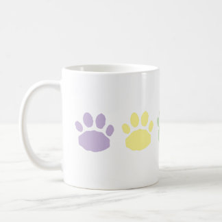 Pastel Purple, Green, and Yellow Paw Prints Coffee Mug