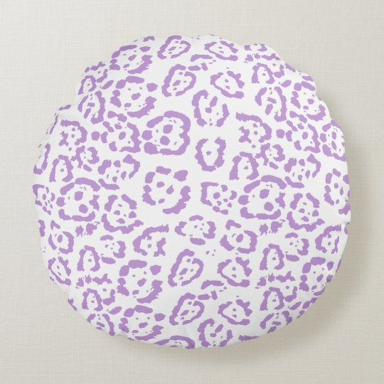Pastel Purple Leopard Kawaii Animal Print Round Pillow