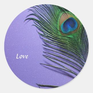 Pastel Purple Peacock Feather Still LIfe Classic Round Sticker