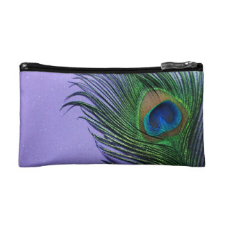 Pastel Purple Peacock Feather Still LIfe Makeup Bag