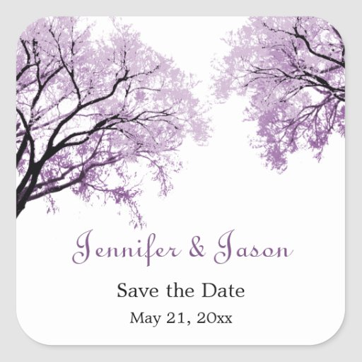 Pastel Purple Trees - Save the Date Stickers