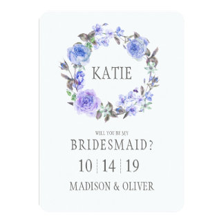 Pastel Purple Watercolor Floral  | Bridesmaid Card