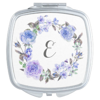 Pastel Purple Watercolor Floral | Monogram Travel Mirror
