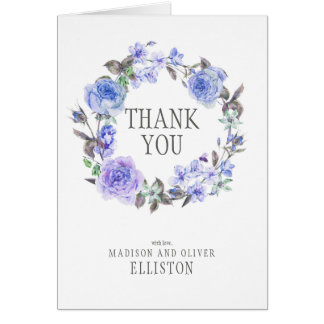 Pastel Purple Watercolor Floral  | Thank You Card