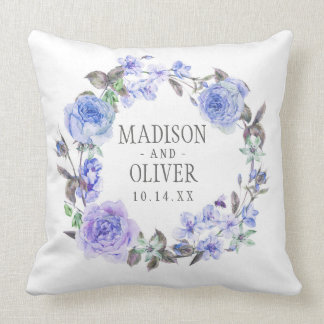 Pastel Purple Watercolor Floral | Wedding Throw Pillow