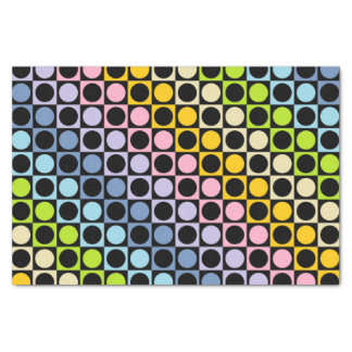 Pastel Rainbow and Black Squares and Polka Dots Tissue Paper