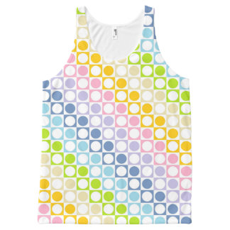 Pastel Rainbow and White Squares and Polka Dots