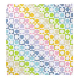 Pastel Rainbow and White Squares and Polka Dots Bandana
