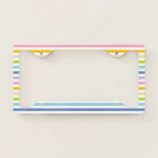 Pastel Rainbow and White Stripes License Plate Frame
