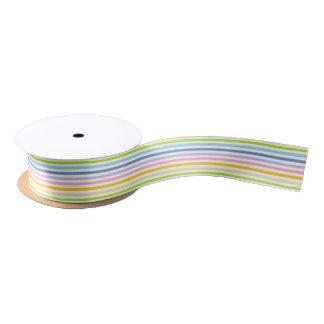 Pastel Rainbow and White Stripes Satin Ribbon