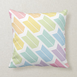 Pastel Rainbow Arrow Feather Chevron Pattern Throw Pillow