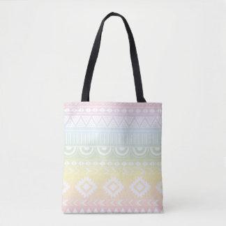 Pastel Rainbow Aztec Design Tote Bag