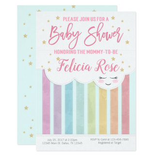 Pastel Rainbow Baby Shower Invitation Invite