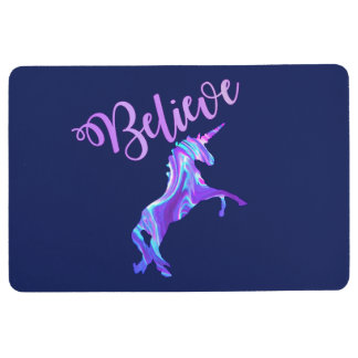 Pastel Rainbow Believe In Unicorns Floor Mat