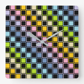 Pastel Rainbow Black Outlined Squares Clocks