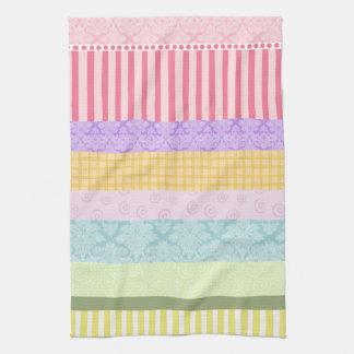 Pastel Rainbow Brocade Stripe Plaid Swirl Towel