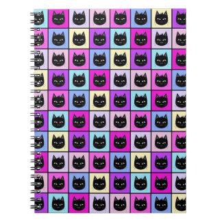 Pastel Rainbow Cat Pattern Spiral Note Book