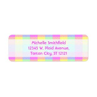 Pastel Rainbow Checkered Border Return Address Label