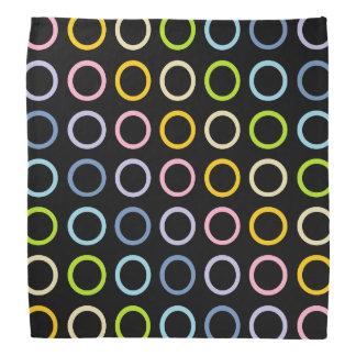Pastel Rainbow Circles Black Bandanas
