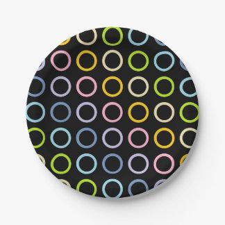 Pastel Rainbow Circles Black Paper Plate
